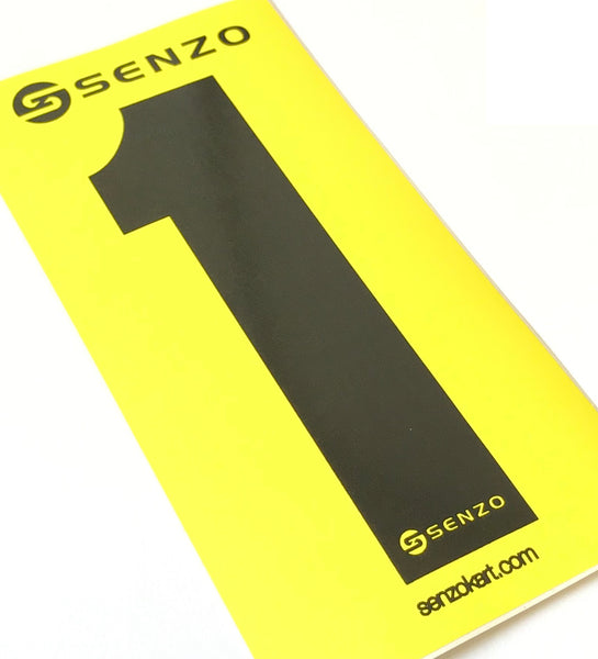 Set of 4 Senzo Black Race Number Yellow Background
