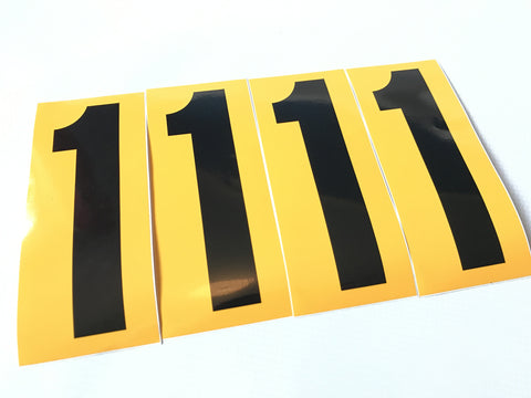 Set of 4 Black Number on Yellow Background