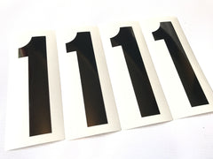 Set of 4 Black Number on Clear Background