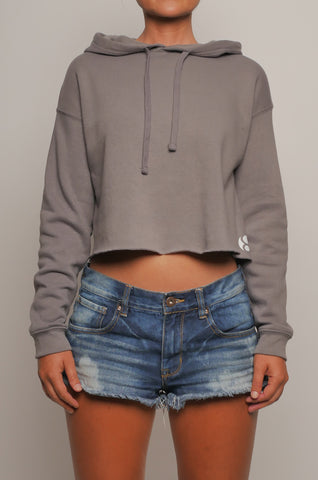 CWF-002 Women's Crop Fleece Pullover Hoodie