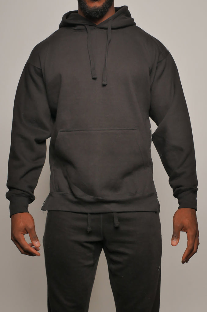 I8T-013 Men's Two Colour Fleece Pullover Hoodie with Side Zips