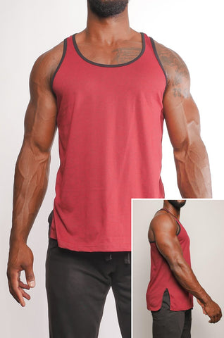 I8T-004 Men's Two Colour T Back Tank with Side Split