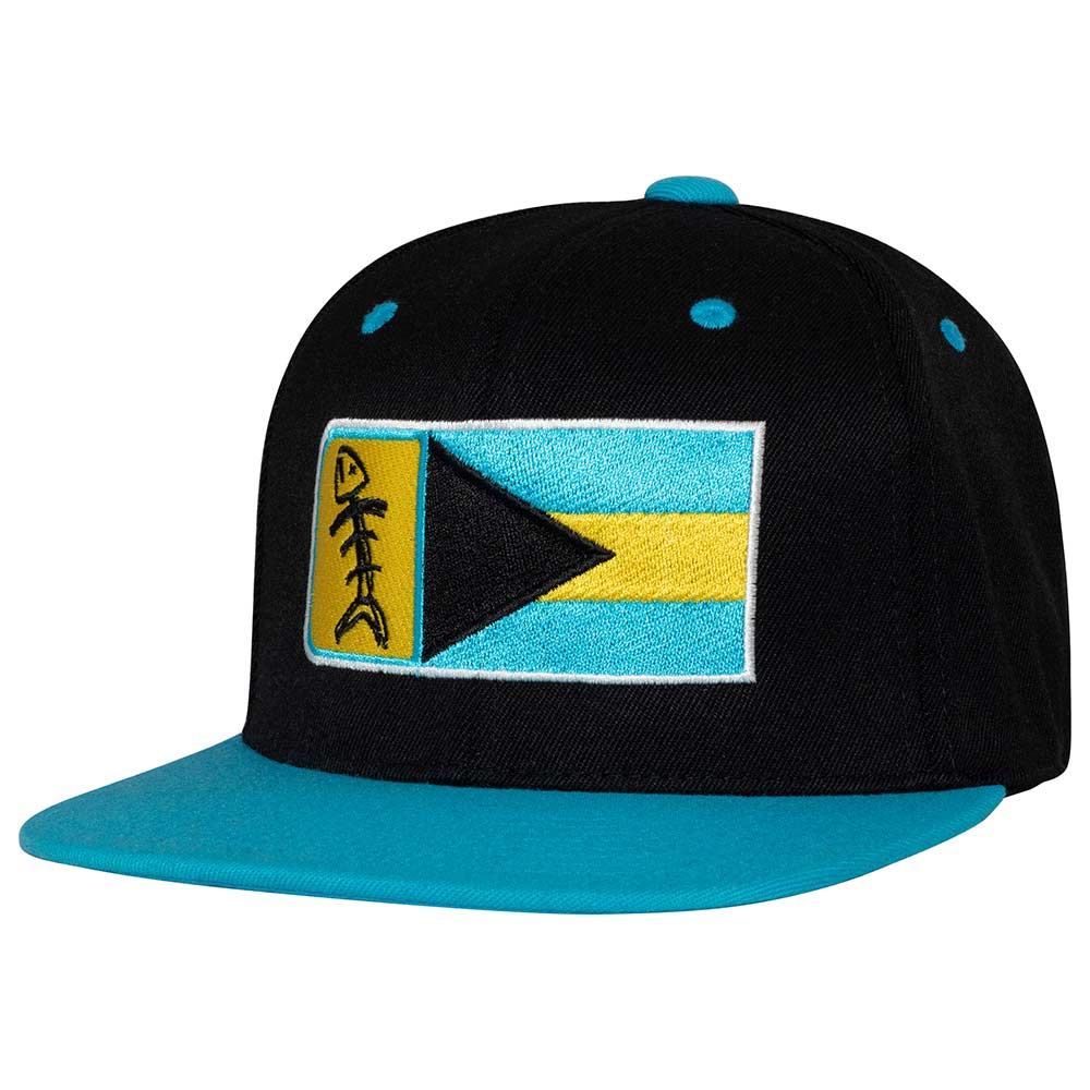 Speared Bahamas Flag Hat: Teal Blue Bill