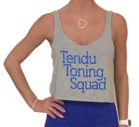 Tendu Toning Squad gray crop tank