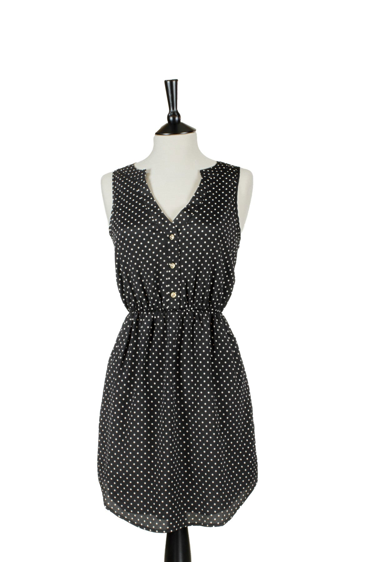 Agata Polka Dot Sleeveless Dress - Black