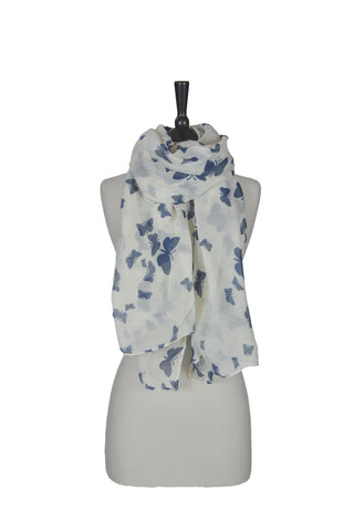 The Butterfly Scarf - Beige and Navy