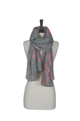 The Butterfly Scarf - Grey and Pink