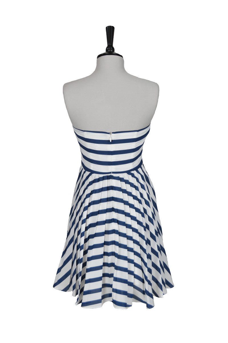 Federica Striped Strapless Dress