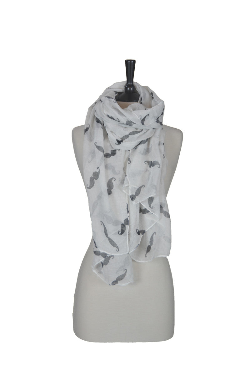 The Moustache Scarf - White