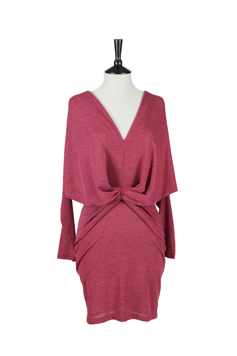 Ottavia V-Neck Dress - Burgundy