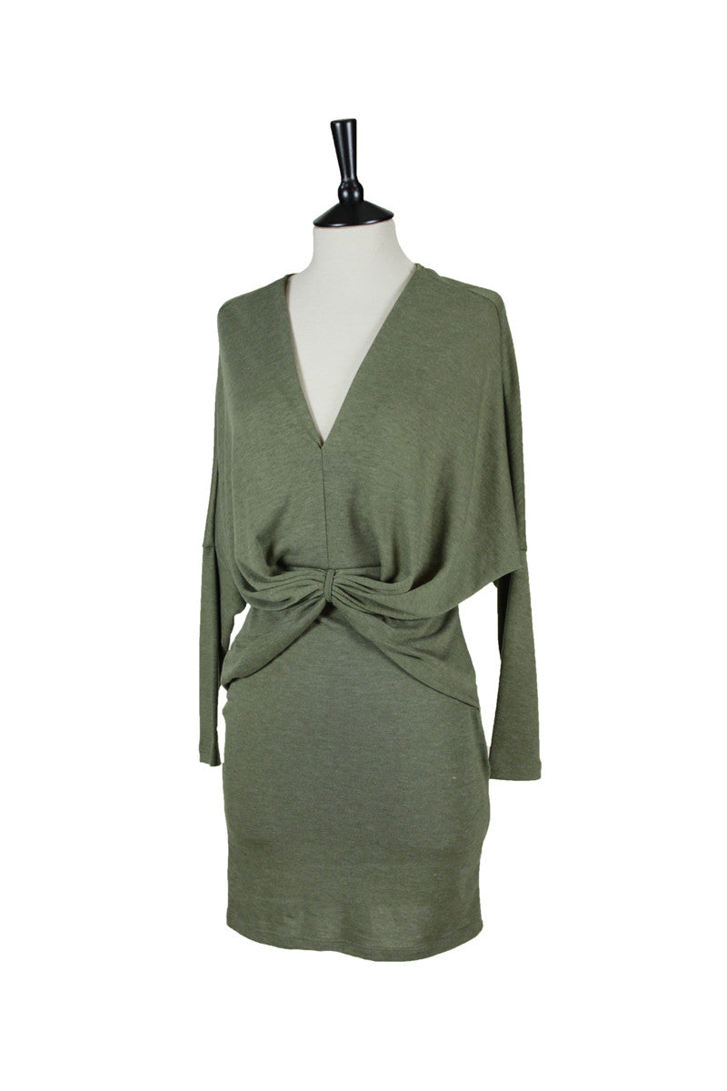 Ottavia V-Neck Dress - Olive