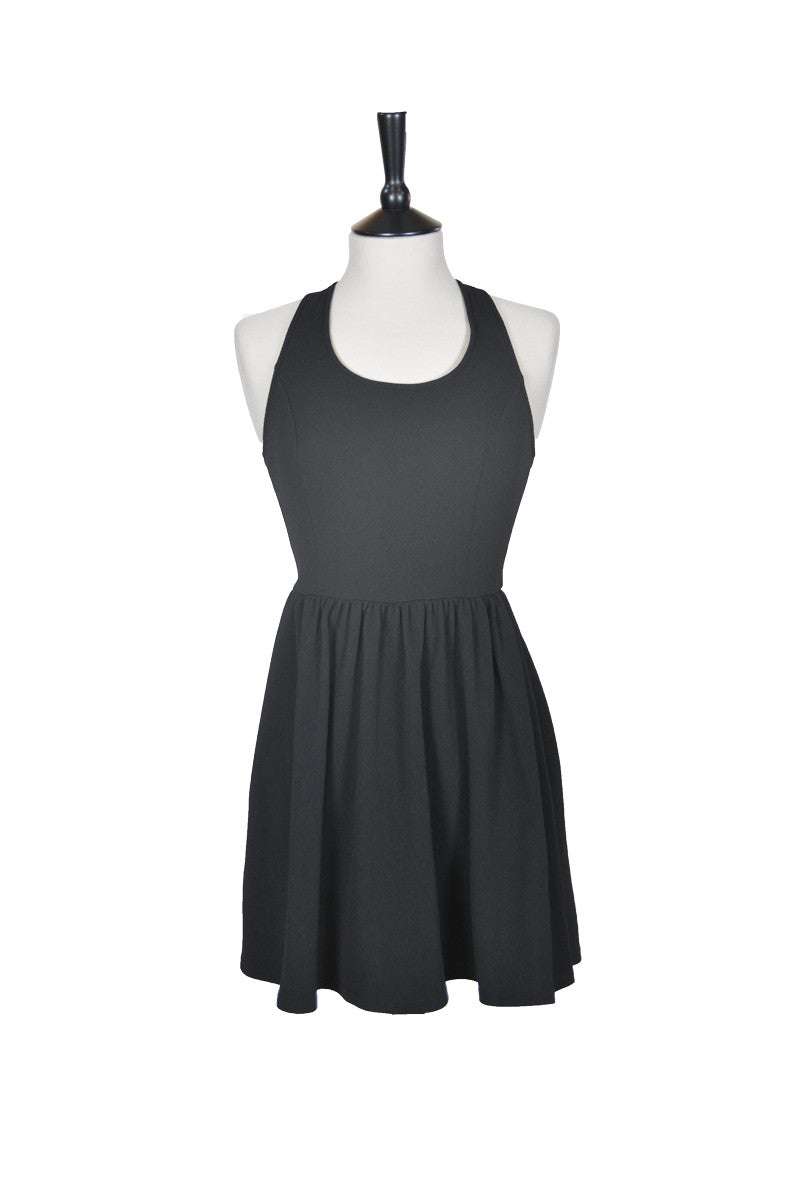 Rebecca Jersey Cross Back Flare Dress - Black