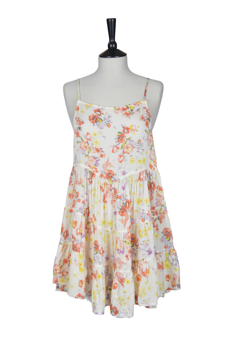 Rossana Flower Print Tie Back Dress - Orange