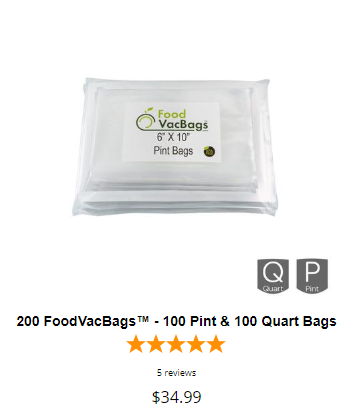 200 pint quart vacuum seal bags foodsaver