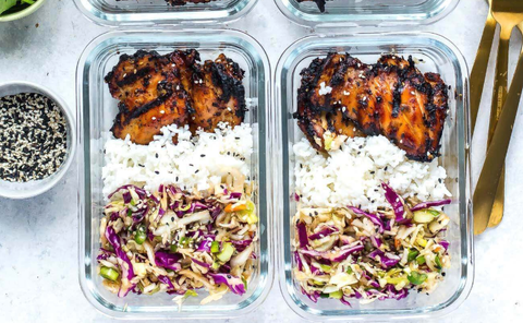 lunch meal prep ideas Korean grilled chicken rice coleslaw