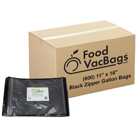 FoodVacBags Black and Clear Zipper Vacuum Seal Bags, Case, Bulk