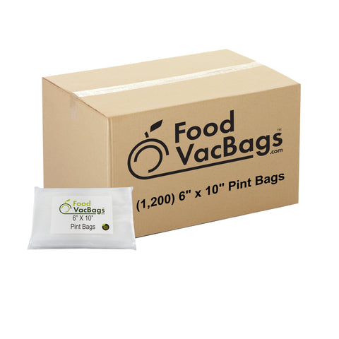 "1200 FoodVacBags 6"" X 10"" Pint Bags - FoodSaver Compatible - Sous Vide"