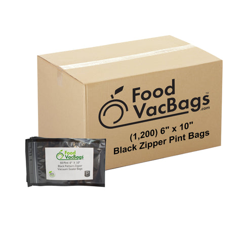 "1200 - 6"" X 10"" Zipper Pint Black & Clear Vacuum Seal Bags - Bulk"