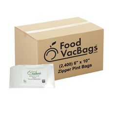 "Case Of 2400 FoodVacBags 6"" X 10"" Zipper Pint Vacuum Sea Bags"
