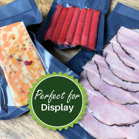 FoodVacBags Black Back & Clear Front Vacuum Seal Bags are perfect for display