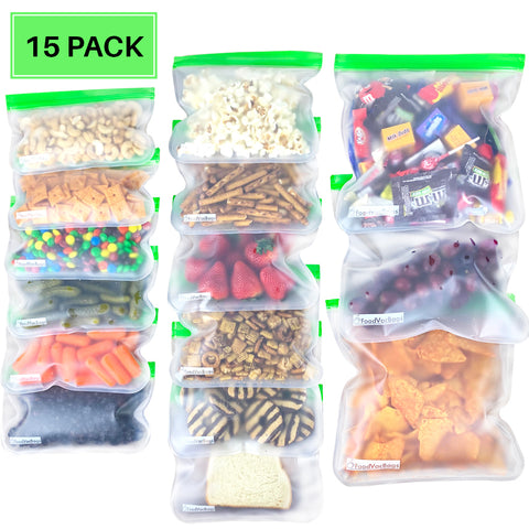 Reusable Food Storage Bags, PEVA, 15 pack, Sandwich, Snack, Gallon