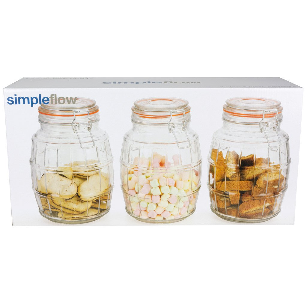 Glass Canister Set - 6 Canisters Per Set - Clearance