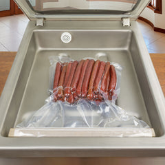 Beef Snack sticks sealed in ChamberVacBags, VacMaster compatible