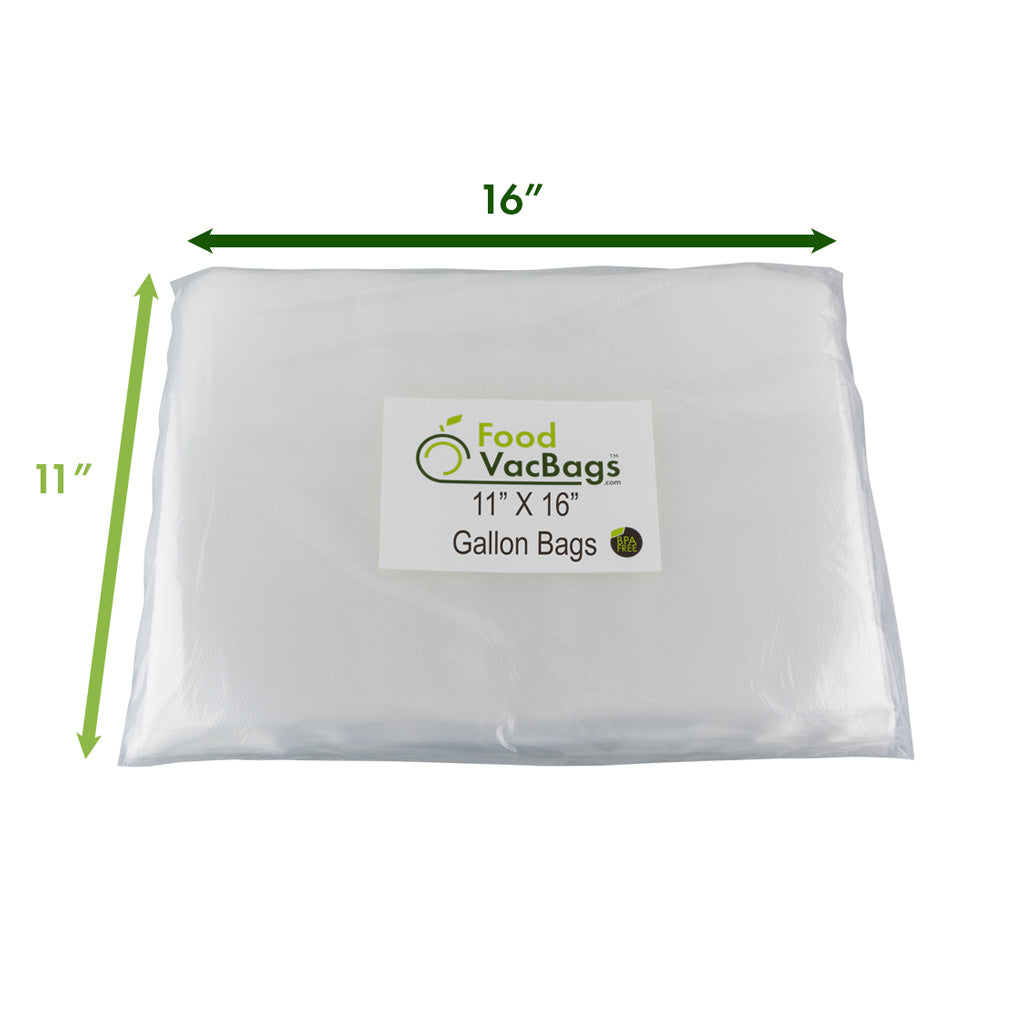 "FoodVacBags Gallon Sized bags are 11""x16"""