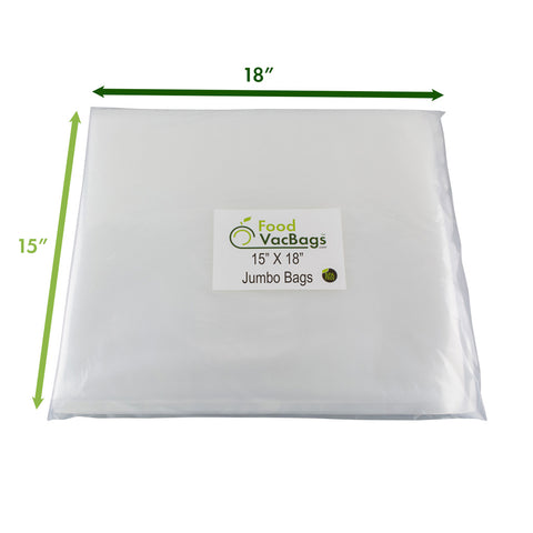 "FoodVacBags JUMBO Sized Vacuum Seal Bags are 15""x18"""