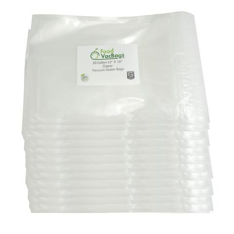 "FoodVacBags Zipper Bags - Case Of 600 FoodVacBags 11"" X 16"" Zipper Gallon Bags"