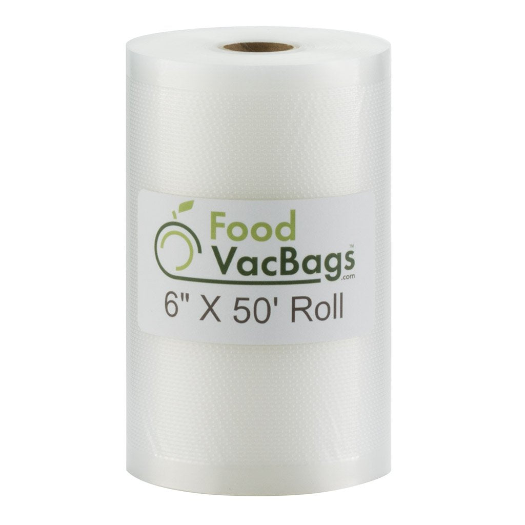 "6"" x 50' FoodVacBags Vacuum Seal Roll - Bulk"