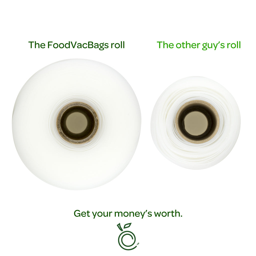 FoodVacBags Vacuum Seal Rolls are Longer than the other guys.