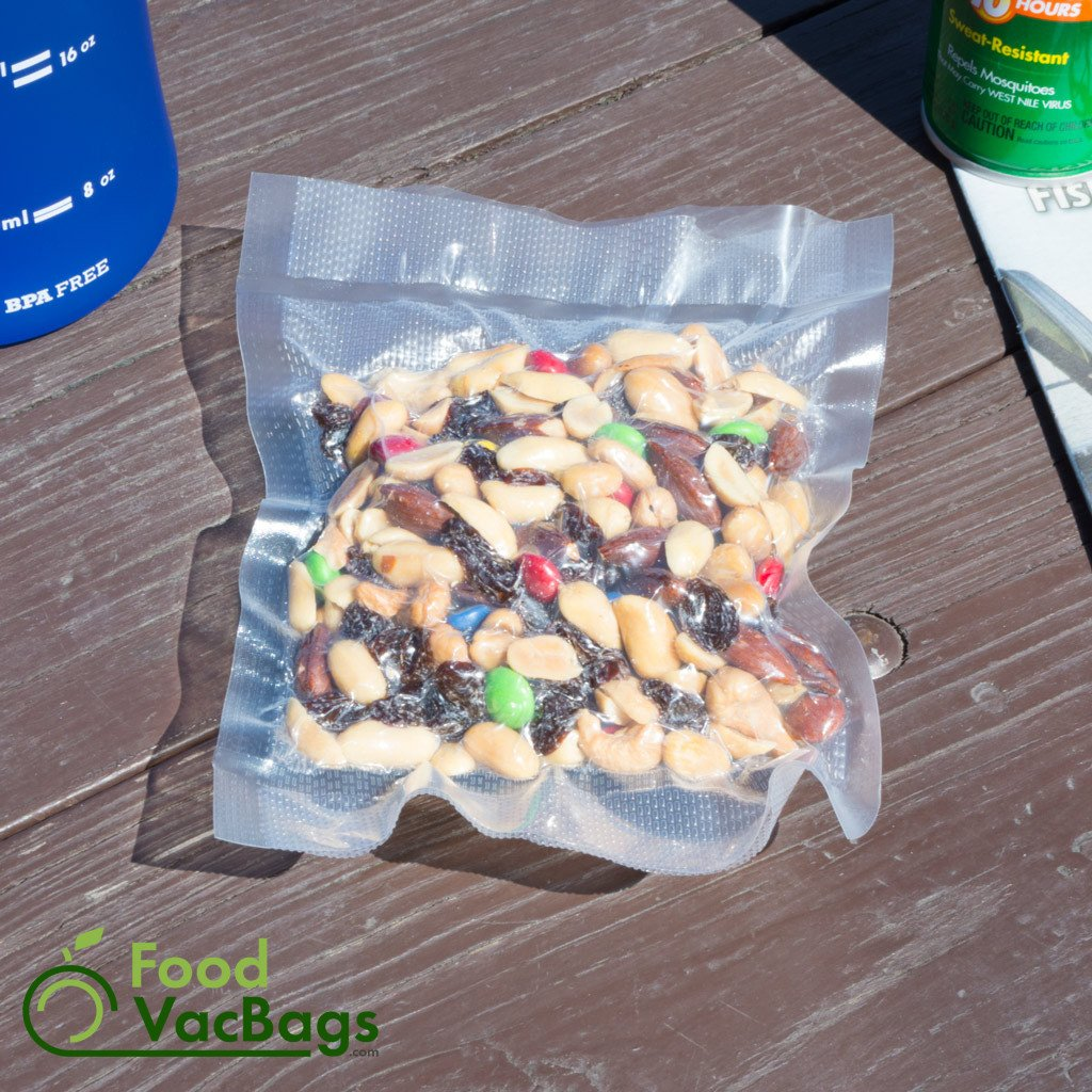 Trail mix sealed in vacuum sealer roll - food storage