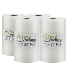 "Rolls - Four FoodVacBags™ 6"" X 50' Vacuum Seal Rolls - compatible with foodsaver - sous vide"