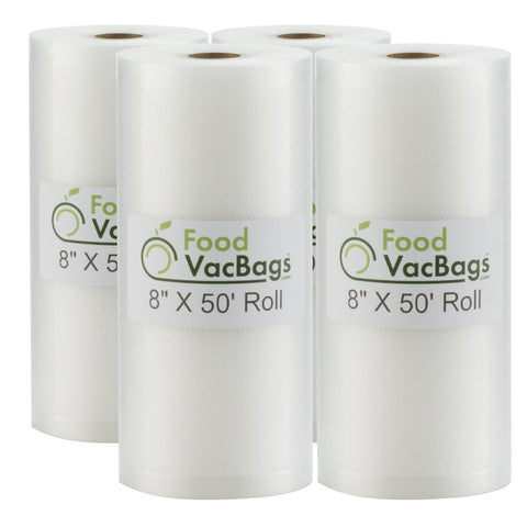 "Rolls - Four FoodVacBags™ 8"" X 50' Vacuum Seal Rolls - compatible with foodsaver - sous vide"