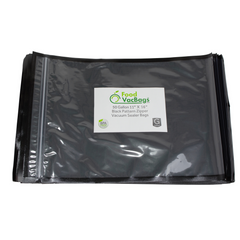 "Zipper Bags - Case Of 1000 FoodVacBags 11"" X 16"" Zipper Gallon Bags - Black & Clear"