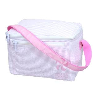 OHM 002 Pink Seersucker Lunch Box  160 1818 STRIPE