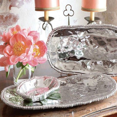 pewter ORGANIC PEARL Nova Pearl Oval Tray (medium)