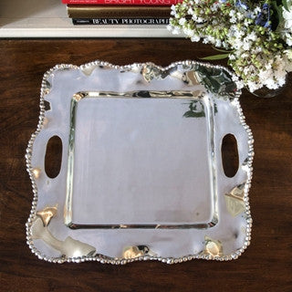 6790 ORGANIC PEARL Kristi Square Tray with Handles (medium)