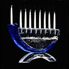 GLA 005 Shofar Menorah/Glass Base