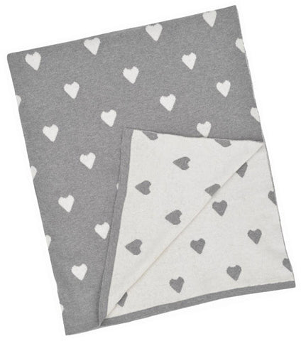 MER 002 Baby/kids Blanket MB-BB35 Grey and White Multi Heart