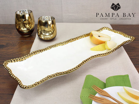 PB 002 Golden Salerno Porcelain Rectangular Serving Piece 2109WG
