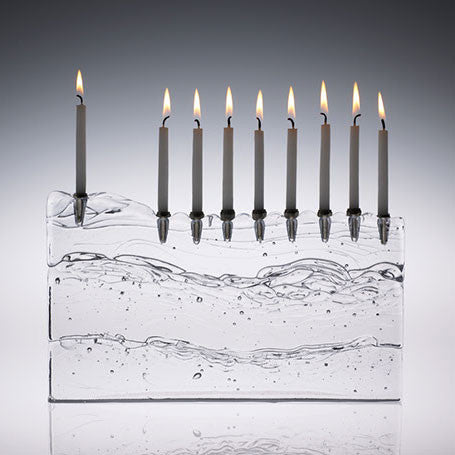 GLA 003 Block Menorah - Clear