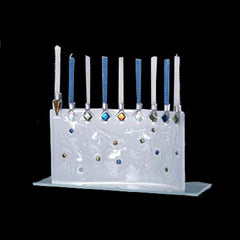 BEA 001 Textured Clear Glass Geo Wave Menorah JM11