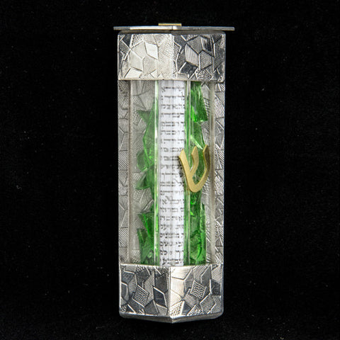 JS 015 Contemporary Triangle Wedding Shards Mezuzah With Kosher Scroll