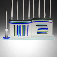 BEA 012 Duo Linear Menorah JM60 (Blue/Green)