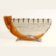 GLA 006 Shofar Menorah - Saffron/Metal Base