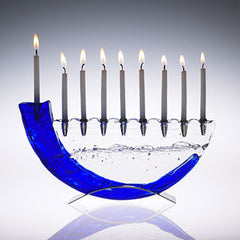 GLA 001 Shofar Menorah - Blue/Metal Base