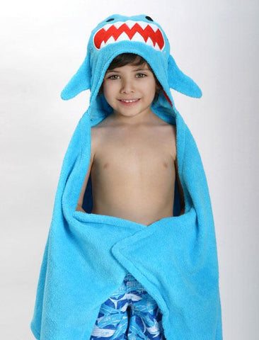 ZOO 019 Toddler Hooded Towel Sherman the Shark ZOO019