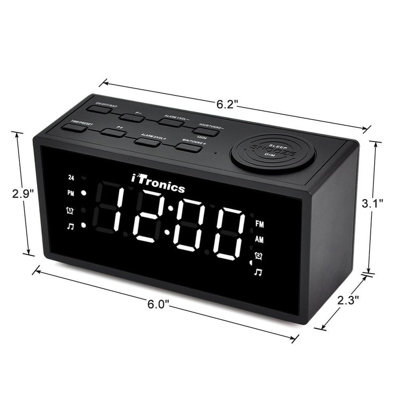 iTronics new-9005I Digital Clock Radio - Dimensions